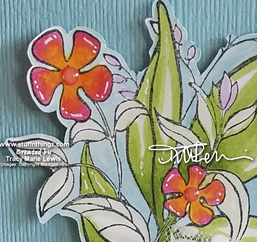 Colored Floral Thinking Of You Card Close Up| Tracy Marie Lewis | www.stuffnthingz.com