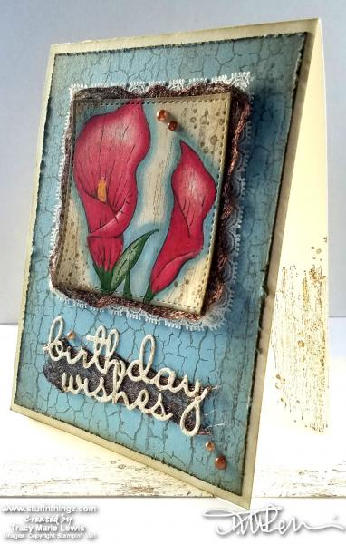 Lilies Aged Birthday Card | Tracy Marie Lewis | www.stuffnthingz.com