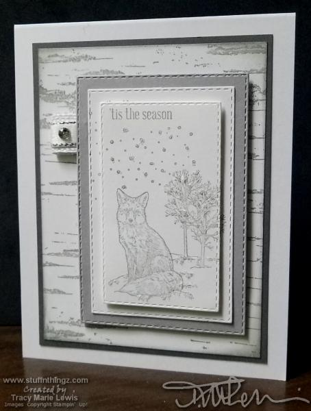 Birch Winter Fox Card | Tracy Marie Lewis | www.stuffnthingz.com