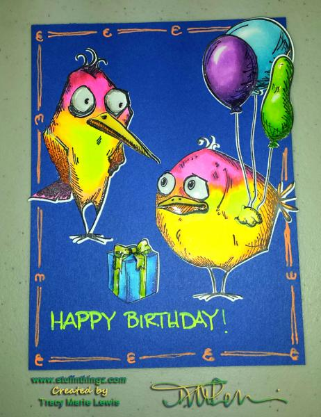 Flourescent Bird Crazy Birds Birthday Card | Tracy Marie Lewis | www.stuffnthingz.com