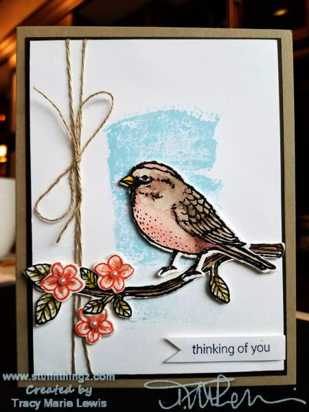 Bird On A Branch Thinking Of You Card | Tracy Marie Lewis | www.stuffnthingz.com