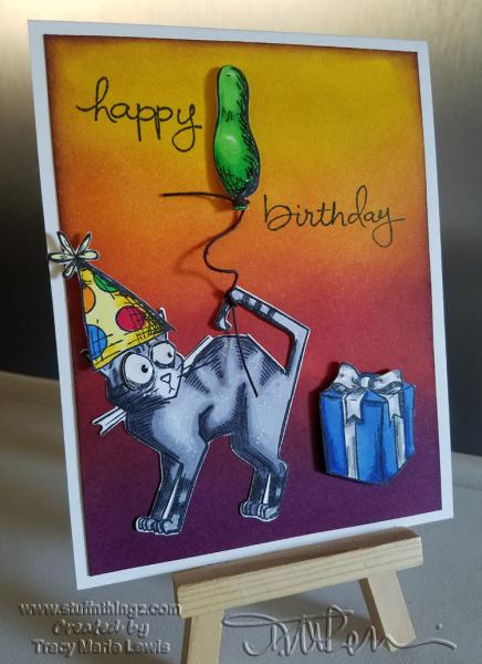 Happy Birthday Crazy Cat with a Green Balloon | www.stuffnthingz.com