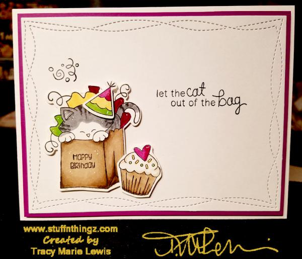 Cat In A Bag Birthday Card | Tracy Marie Lewis | www.stuffnthingz.com