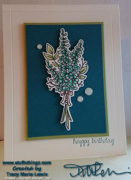 Happy Birthday Copic Lavender Card | Tracy Marie Lewis | www.stuffnthingz.com