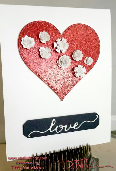 Love with White Rolled Flowers | Tracy Marie Lewis | www.stuffnthingz.com