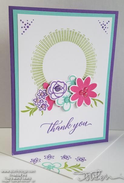 Bright Blooms Thank You Card | Tracy Marie Lewis | www.stuffnthingz.com