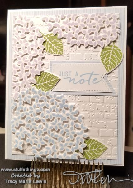 Hydrangea Just A Note Bricks Card | Tracy Marie Lewis | www.stuffnthingz.com