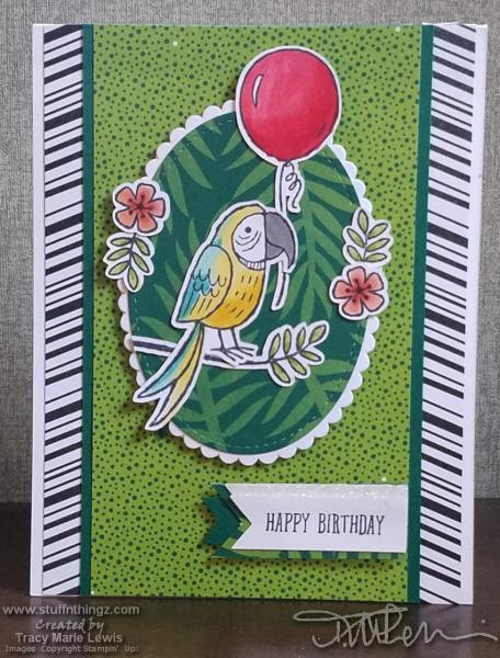 Parrot Birthday Card With Lots Of Repeating Patterns   Tracy Marie Lewis   www.stuffnthingz.com