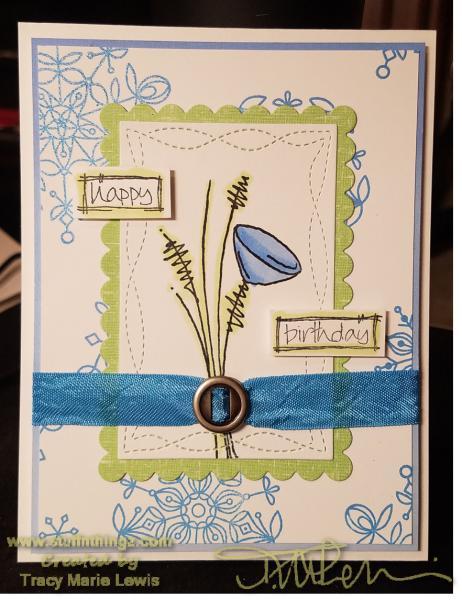 Whimsical Happy Birthday Card   Tracy Marie Lewis   www.stuffnthingz.com