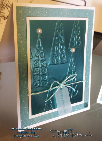 Teal Metallic Christmas Tree Card | Tracy Marie Lewis | www.stuffnthingz.com