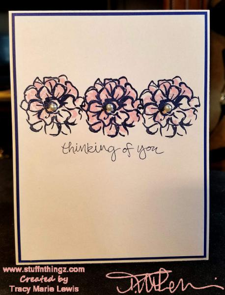 Navy Floral Thinking Of You Card | Tracy Marie Lewis | www.stuffnthingz.com