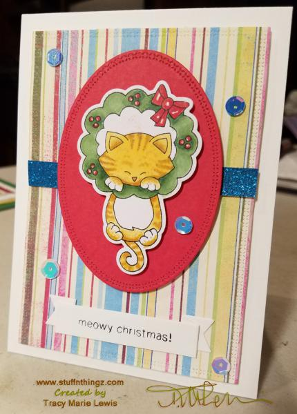 Newton Swings From A Wreath Christmas Card | Tracy Marie Lewis | www.stuffnthingz.com