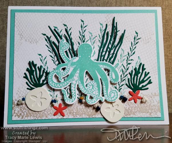 Sea Octopus Scene Card | Tracy Marie Lewis | www.stuffnthingz.com
