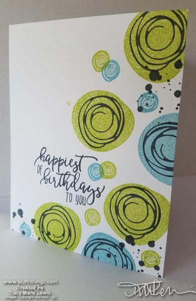 Swirly Happy Birthday Card   Tracy Marie Lewis   www.stuffnthingz.com