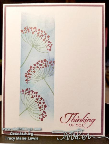 Sponged Floral Thinking Of You Card | Tracy Marie Lewis | www.stuffnthingz.com