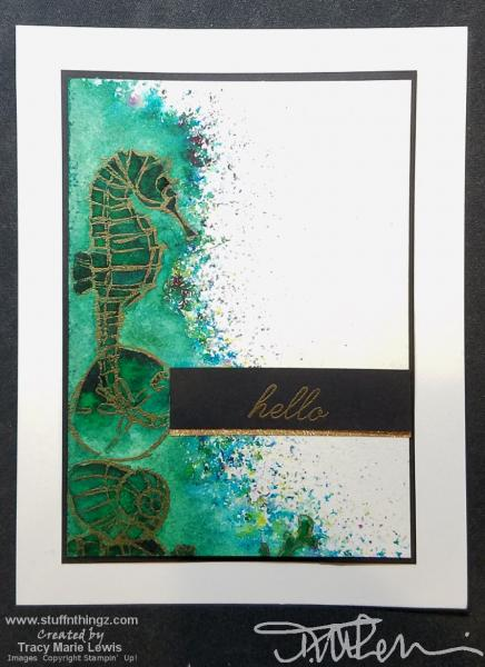 Seahorse & Shells Hello Card | Tracy Marie Lewis | www.stuffnthingz.com