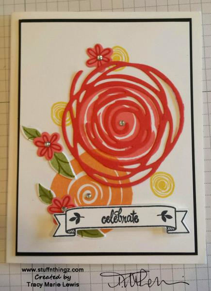 Floral Swirls Celebrate Card | Tracy Marie Lewis | www.stuffnthingz.com