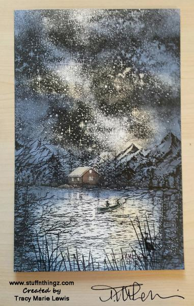 Night Stampscape Scene | Tracy Marie Lewis | www.stuffnthingz.com