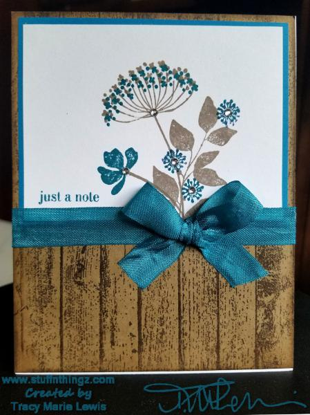 Wood and Flower Just A Note Card | Tracy Marie Lewis | www.stuffnthingz.com