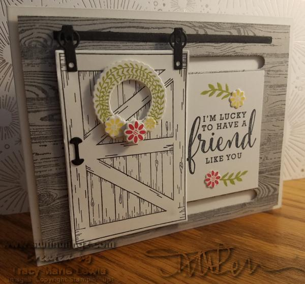 Thank You Friend Barn Door Slider Card | Tracy Marie Lewis | www.stuffnthingz.com