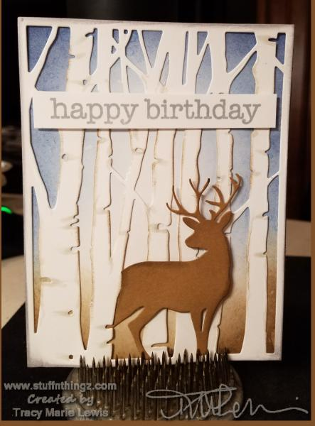 Masculine Woodland Birthday Card: | Tracy Marie Lewis | www.stuffnthingz.com