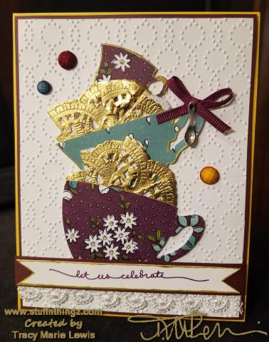 Tea Cup Celebrate Card #2 | Tracy Marie Lewis | www.stuffnthingz.com