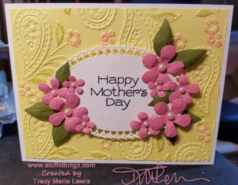 Mother's Day Pink Flowers Paisley Card Angle | Tracy Marie Lewis | www.stuffnthingz.com