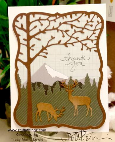 Thank You Mountain Scape with Deer Card | Tracy Marie Lewis | www.stuffnthingz.com