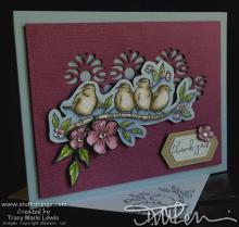Birds & Flowers Thank You Card | Tracy Marie Lewis | www.stuffnthingz.com