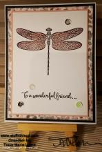 Pink And Grey Dragonfly Friend Card | Tracy Marie Lewis | www.stuffnthingz.com