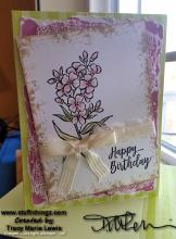 Floral Happy Birthday With Cheese Cloth And Ribbon | Tracy Marie Lewis | www.stuffnthingz.com