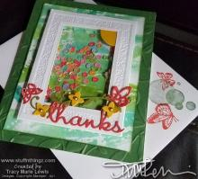 Floral Shaker Window Frame Thanks Card | Tracy Marie Lewis | www.stuffnthingz.com