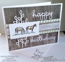 Grazing Horses Wood Texture Birthday Card | Tracy Marie Lewis | www.stuffnthingz.com