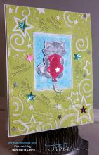 Birthday Balloon Floating Cat Card | Tracy Marie Lewis | www.stuffnthingz.com