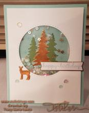 Copper Deer and Trees Shaker Birthday Card | Tracy Marie Lewis | www.stuffnthingz.com