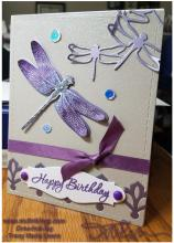 Purple Dragonfly Birthday Card| Tracy Marie Lewis | www.stuffnthingz.com