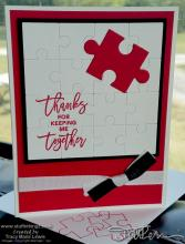 Red Puzzle You Keep Me Together Card | Tracy Marie Lewis | www.stuffnthingz.com