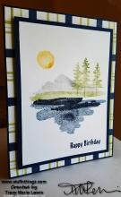 Waterfront Plaid Birthday Card | Tracy Marie Lewis | www.stuffnthingz.com