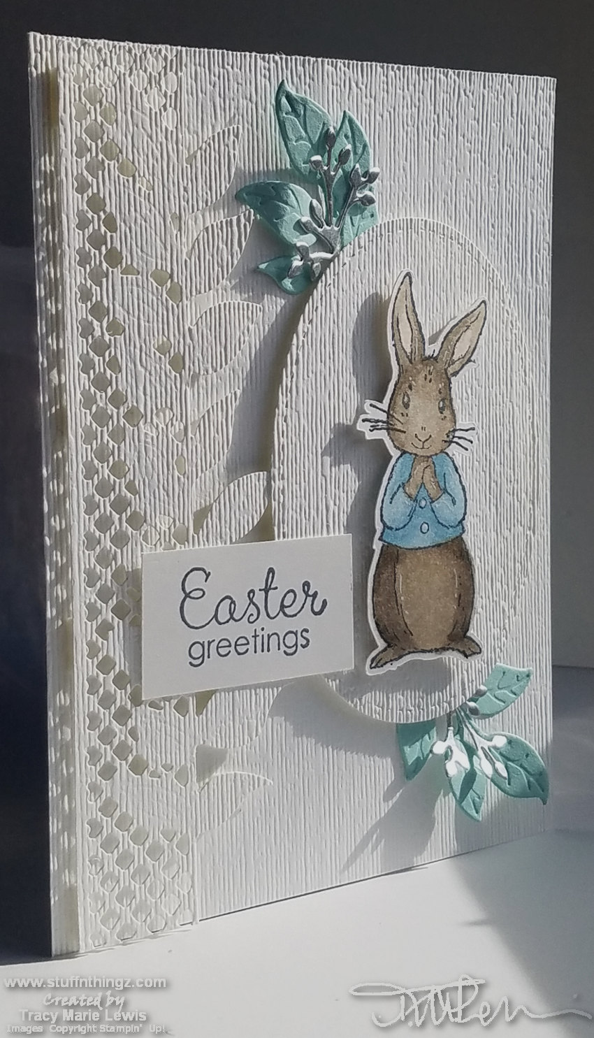 Textured Bunny Easter Card - March 2019 Stamp 'N Hop | Tracy Marie Lewis | www.stuffnthingz.com