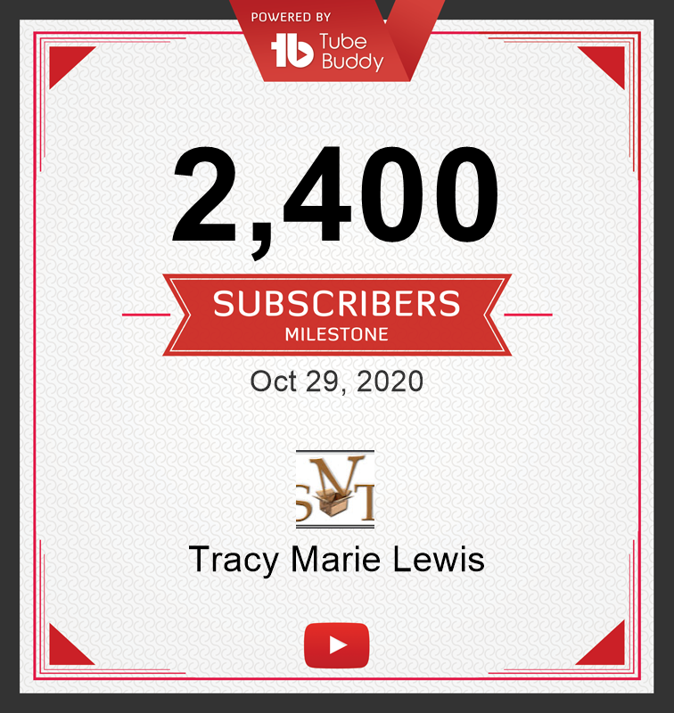 2400 YT Subscribers | Tracy Marie Lewis | www.stuffnthingz.com