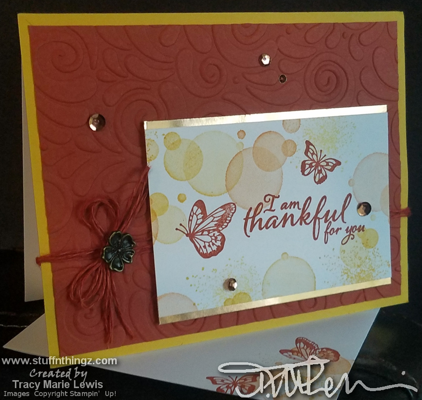 Thankful Butterfly Bubbles Casual Card | Tracy Marie Lewis | www.stuffnthingz.com