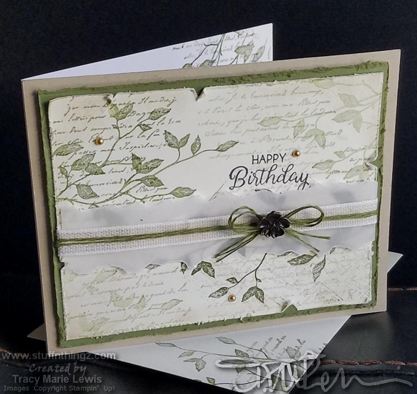 Green & Black Leaves Birthday Card V2   Tracy Marie Lewis   www.stuffnthingz.com
