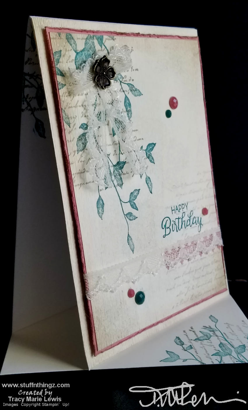 Very Versailles Stepped Up Pink And Green Lacy Birthday Card | Tracy Marie Lewis | www.stuffnthingz.com