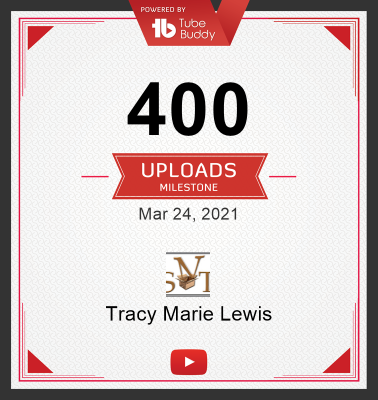 400 YT uploads certificate | Tracy Marie Lewis | www.stuffnthingz.com