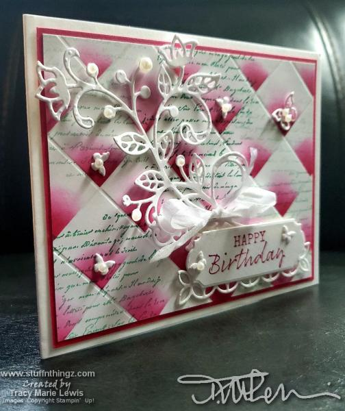 Retiring Showcase - Tile Floral Birthday Card In Lovely Lipstick   Tracy Marie Lewis   www.stuffnthingz.com