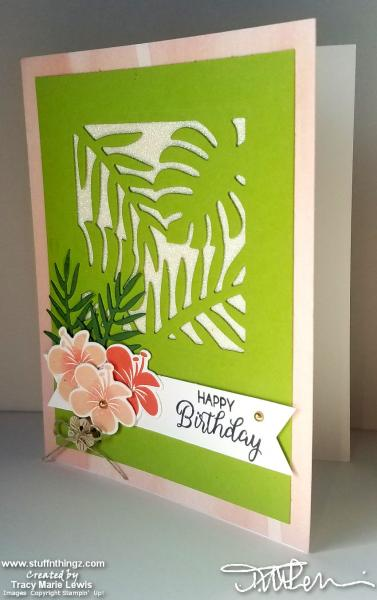 Sparkle Tropical Coral Birthday Card | Tracy Marie Lewis | www.stuffnthingz.com
