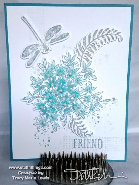 Teal and Grey Dragonfly Floral Friend Card | Tracy Marie Lewis | www.stuffnthingz.com