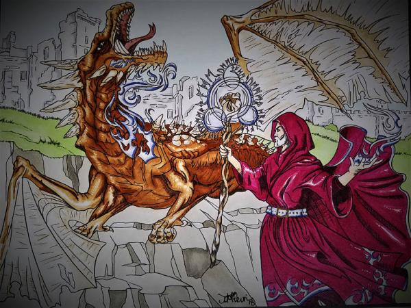 Dragon Vs. Mage Coloring Project   Tracy Marie Lewis   www.stuffnthingz.com