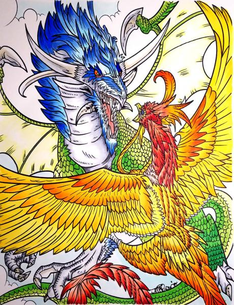 Copic Coloring Project - Dragon vs. Phoenix   Tracy Marie Lewis   www.stuffnthingz.com