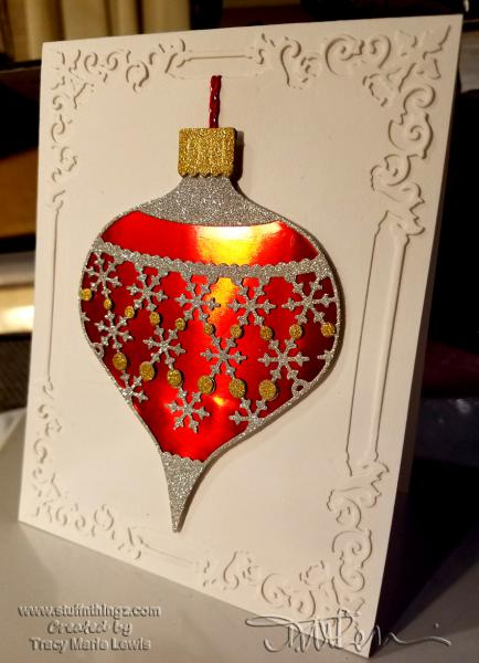 Spellbinders and Memory Box Ornament Card | Tracy Marie Lewis | www.stuffnthingz.com